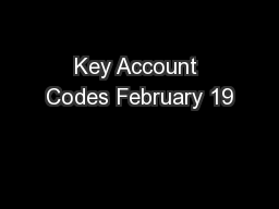 Key Account Codes February 19