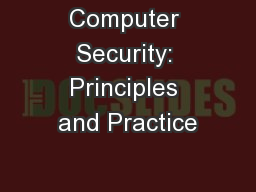 Computer Security: Principles and Practice PowerPoint Presentation, PPT - DocSlides