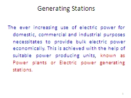 Generating Stations The ever