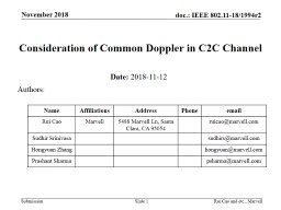 Slide  1 Consideration of Common Doppler in C2C Channel