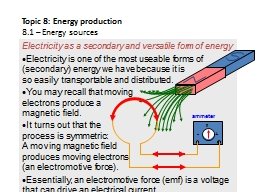 Electricity as a secondary and versatile form of energy