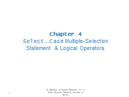 Chapter 4  Select � Case