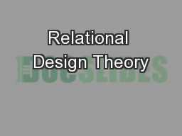Relational Design Theory PowerPoint Presentation, PPT - DocSlides