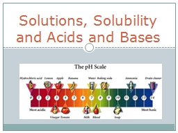Solutions, Solubility and Acids and Bases