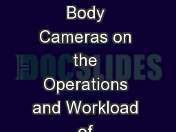 Overview of the Impact of Body Cameras on the Operations and Workload of Commonwealth's Attorneys