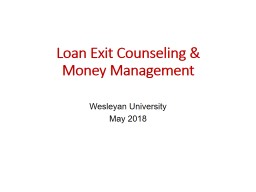 Loan Exit Counseling & Money Management