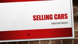 Selling Cars Function Project