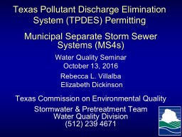 Texas Pollutant Discharge Elimination System (TPDES) Permitting