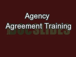 Agency Agreement Training
