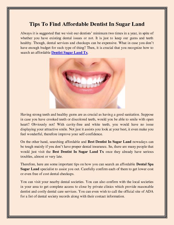 Tips To Find Affordable Dentist In Sugar Land