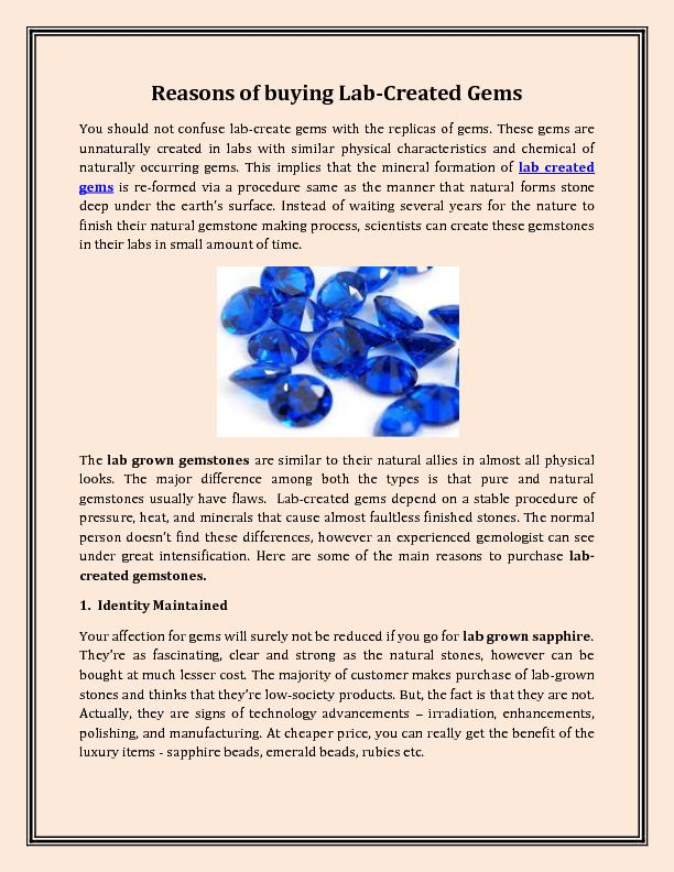 Reasons of buying Lab-Created Gems
