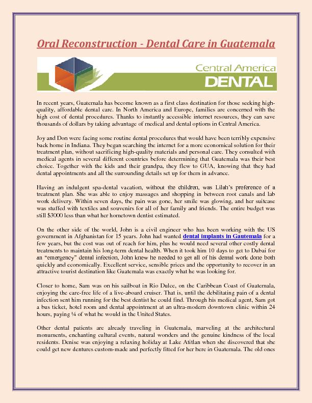 Oral reconstruction - Dental Care in Guatemala  PDF document - DocSlides