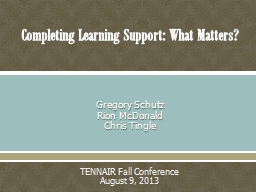 Completing Learning Support: What Matters? PowerPoint PPT Presentation