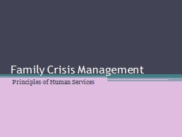 Family Crisis Management