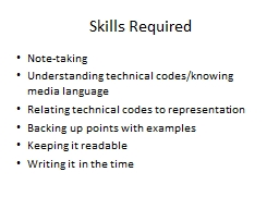 Skills Required N ote-taking