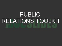 PUBLIC RELATIONS TOOLKIT