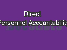 Direct Personnel Accountability