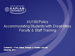 KU180 Policy Accommodating Students with Disabilities