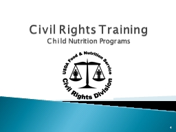 Civil Rights Training  Child Nutrition Programs