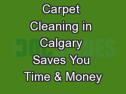 Professional Carpet Cleaning in Calgary Saves You Time & Money PowerPoint PPT Presentation