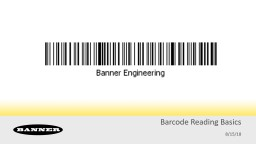 Barcode Reading Basics 8/15/18