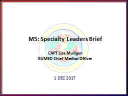 M5: Specialty Leaders Brief