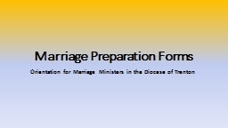 Marriage Preparation Forms