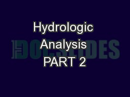 Hydrologic Analysis PART 2