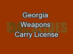 Georgia Weapons Carry License