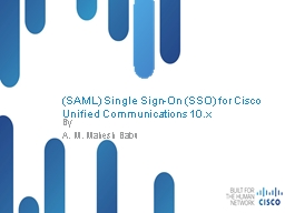 (SAML) Single Sign-On (SSO) for Cisco Unified Communications 10.x