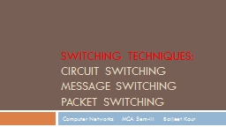 Switching Techniques:  Circuit Switching
