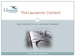 Pre-cursors to the Lausanne Congress