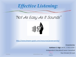 Effective Listening: Presented by