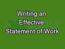Writing an Effective Statement of Work