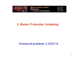 1 5. Master Production Scheduling PowerPoint PPT Presentation