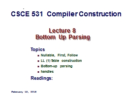 Lecture 8   Bottom Up Parsing