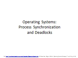 Operating Systems: Process Synchronization