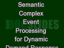 On Using Semantic Complex Event Processing for Dynamic Demand Response