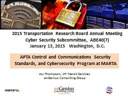 APTA Control  and Communications Security