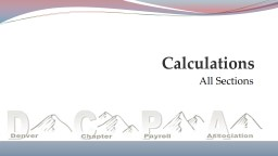 All Sections Calculations