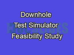 Downhole Test Simulator Feasibility Study