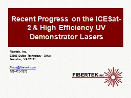Recent Progress on the ICESat-2 & High Efficiency UV Demonstrator Lasers