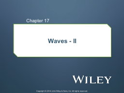 Waves - II Chapter  17 Copyright © 2014 John Wiley & Sons, Inc. All rights reserved.
