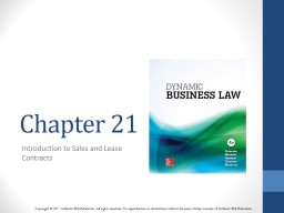 Chapter 21 Introduction to Sales and Lease Contracts