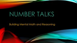 Number Talks Building Mental Math and Reasoning