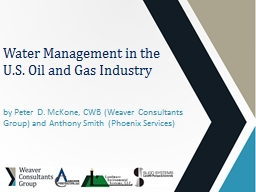 Water Management in the U.S. Oil and Gas Industry