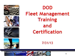 DOD  Fleet Management Training