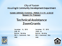 City of Tucson Housing & Community Development Department PowerPoint PPT Presentation