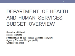 Department of Health and Human Services Budget Overview