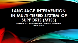 Language Intervention in multi-tiered system of supports (